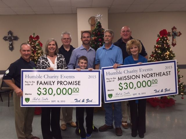 Ted & Zed's Celebrity Golf Tournament held recently in Humble, Texas raised $60,000 for local charities.  In the photo: Zed Penn, tournament director; Carole Brady, Family Promise of Lake Houston; Martin Light, tournament finance director; Louis Flory, Effex Management Solutions; Louis Flory IV; Bryan Herr, Country Fresh; Ted LeBlanc, tournament chairman; and Pamela Dickson, Mission Northeast.